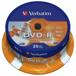 Диск DVD Verbatim 4.7Gb 16X CakeBox 25шт Printable (43538)